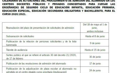 Calendario de admisión del alumnado en los centros andaluces